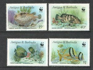 1987 ANTIGUA - SG:1077 / 1079 / 1081/82 - MARINE LIFE  -  WWF  -  UNMOUNTED MINT