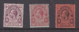 TURKS & CAICOS ISLANDS , 1913 KGV 6d., 2s. & 3s., lhm.