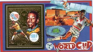 Central African Republic 1993 World Cup USA 94/Pele Gold SS Mi.#Bl.555A MNH