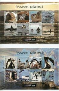 British Antarctic Territory Scott 428-29 Frozen Planet Seal Sheets 2011 Mint NH