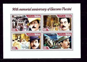 Maldive Is 3103 MNH 2014 80th Memorial Anniv of Giacomo Puccini sheet of 4