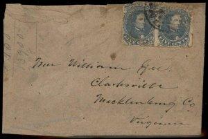 CSA #4 Pair Clarksville Virginia Civil War Confederate Cover 92698