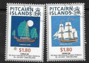 PITCAIRN ISLANDS SG497/8 1996 CHINA 96 FINE USED