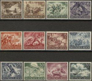 Stamp Germany Mi 831-42 Sc B218-29 1943 WWII 3rd Reich Wehrmacht MH