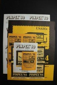 PINPEX 1980 1981 1984 Arkansas AK Pinnacle Stamp Club lot sheet poster label set
