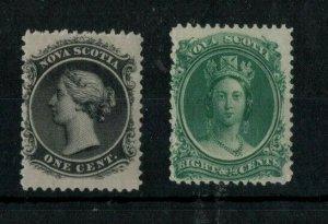 1860 NOVA SCOTIA   Queen Victoria 1c Black  & 8c Green  Mint Lightly Hinged