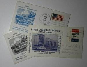 BOPEX Stamp Show Bellaire OH Lot of 3 1964 & 1969 Philatelic Expo Cachet Cover