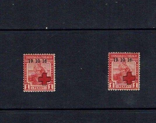 Trinidad: 1916, 1916 Red Cross overprint,  'no stop' variety, Mint