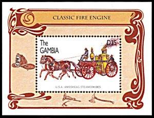 Gambia 1749, MNH, Amoskeag Steamer Classic Fire Engine souvenir sheet
