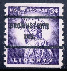 Brownstown IN, 1057-71 Bureau Precancel, 3¢ coil Statue of Liberty