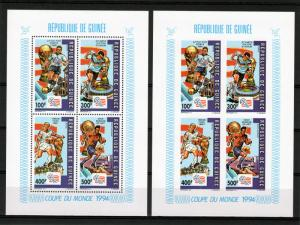 Guinea 1992 Mi.#1367/1370A/B World Cup USA '94 Collective SS Perf+Imp.