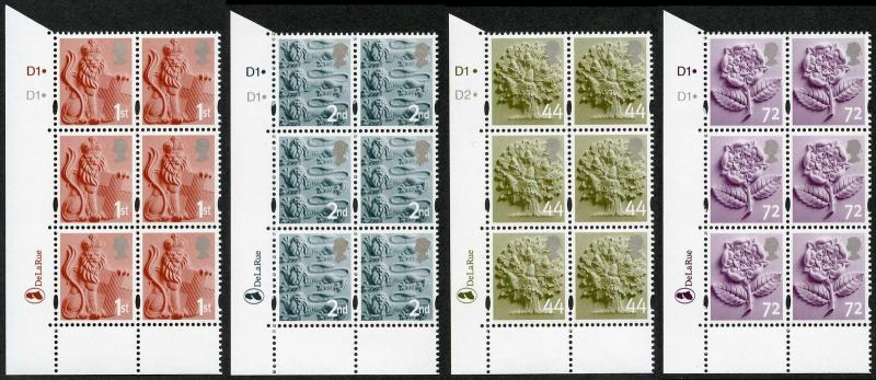 SGEN6b/7b/11b/17a England 2nd 1st 44p and 72p white borders HEAD TYPE 1 Cyl blo