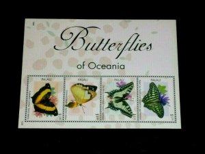 TOPICAL, BUTTERFLIES, 2013, PALAU #1161, SHEET/4, MNH, LOT #10, NICE,LQQK