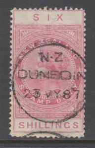 New Zealand Sc AR7v, SG F27, used. 1886 6sh rose QV Postal Fiscal, sound