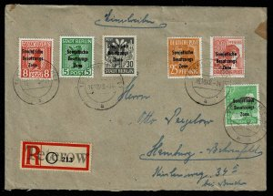 Michel#192 +, cancel Teterow on registered cover, Allied zone 1948