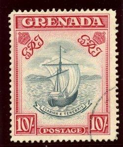 Grenada 1943 KGVI 10s blue-black & carmine (p14 - narrow ptg) VFU. SG 163e.