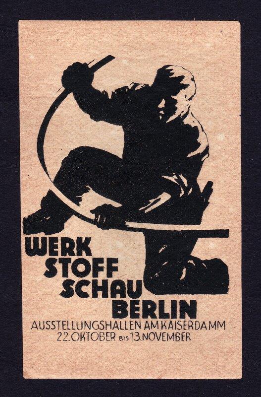 REKLAMEMARKE POSTER STAMP WERK STOFF SCHAU BERLIN GERMANY 1927