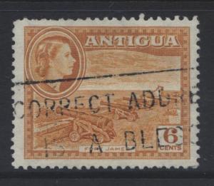 ANTIGUA - Scott 113 - QEII Definitive -1953 -VFU-WMK 4 - Orange - 6p Stamp1