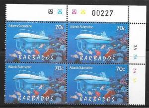 Barbados #960 70c Tourism-Atlantis Submarine Plate block  (MNH)  CV $7.00