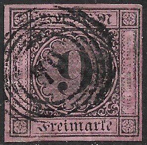 BADEN 1851-52 9kr Black on Lilac Rose Sc 4 w Number 79 Cxl o LAHR Useed w Thins