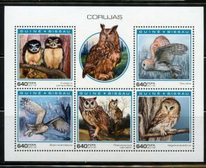 GUINEA BISSAU  2018  OWLS  SHEET  MINT NEVER HINGED