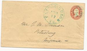 US Star Die Cover Used in CSA Blue Pattonsburgh, VA CDS April 17, 1861 Ex-Thayer