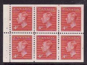 Canada-Sc#287b- id5-Unused NH KGVI booklet pane-4c dark carmine-1949-