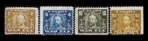 CANADA 1915 SET/LOT 4 USED INLAND REVENUE STAMPS 3 WAR TAX + #FX19 $1 EXCISE TAX
