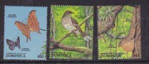 DOMINICA ^^^^^MNH  set    ( BIRDS BUTTERFLIES )  $$ @@@ lar4045dom