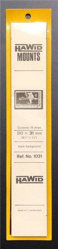 Stamp Mounts Supplies Hawid #1031 New 19 strips 31mm by 210mm Black background