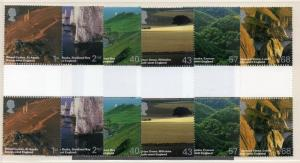 Great Britain Sc 1161-6 2005 English Scenery stamp set gutter pairs mint NH