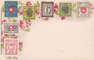 Switzerland c1940 Mint Color Post Card With Swiss Cantonal Stamps. Nice Image.
