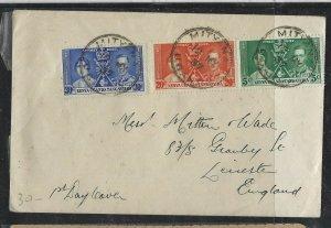 KENYA,UGANDA,TANGANYIKA COVER (P0405B)  1937 KGVI CORONATION MITYANA TO ENGLAND