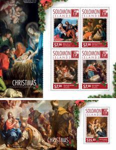 Christmas Paintings Art Titian Ugolini Religion Solomon Islands MNH stamp set