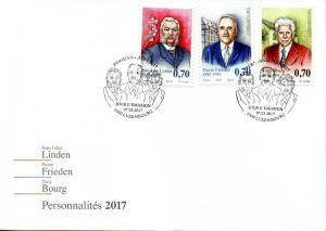 Luxembourg 2017 FDC Personalities Pierre Frieden Tony Bourg 3v Cover Stamps