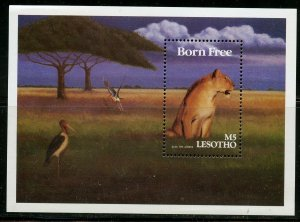 LESOTHO AFRICAN  MOVIES BORN FREE LION SOUVENIR SHEET  MINT NH