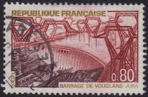 France - 1969 - Scott #1233 - used - Vouglans Dam