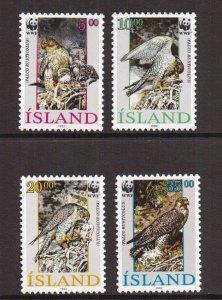 Iceland   #762-765  MNH  1992  falcons  WWF