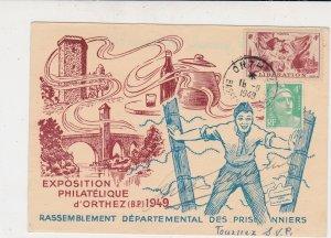 France 1949 Philatelic Ex Orthez Illustr Liberation & Lady Stamps Card Ref 35070