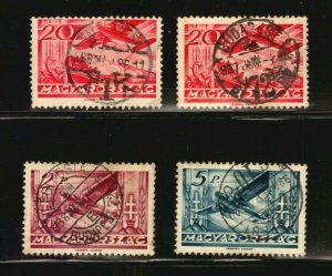 Hungary air mail stamps Scott #c44 & others used SON CANCEL key value