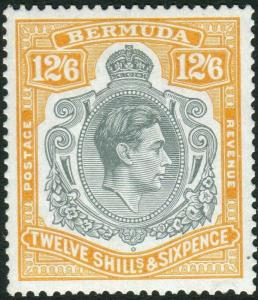 BERMUDA-1944 12/6 Deep Grey & Brownish Orange Ordinary Paper Perf 14
