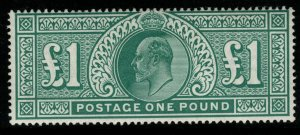 GB SG266 1902 £1 DULL BLUE-GREEN MTD MINT