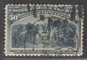 US Stamp #240 50c Slate Blue Recall of Columbus USED SCV $175.00