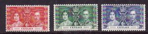 Ceylon-Sc#275-7-Unused hinged set-KGVI-Coronation-Omnibus-1937-