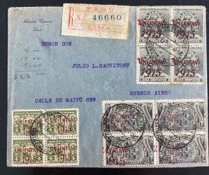 1916 Lima Peru Registered Cover To Buenos Aires Argentina Sc#188