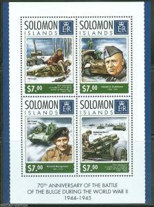 SOLOMON ISLANDS 2014 70th ANN  BATTLE OF THE BULGE EISENHOWER  SHEET MINT  NH