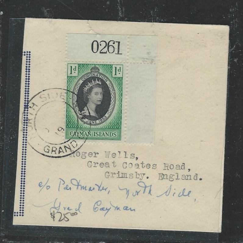 CAYMAN ISLANDS (P2903B) QEII CORONATION SHEET NUMBER COPY ON COVER FROM NORTH PO