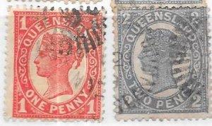 Australia-Queensland  #113-114    1p & 2p Queen Victoria (U) CV $8.10