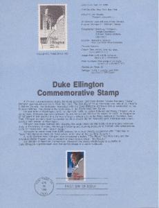 US SP747 Duke Ellington Souvenir Page #2211