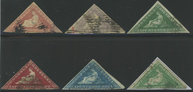 6 Diff Cape of Good Hope Triangles - Sc# 3 5 6 12 13 & 15 NICE!  S1671